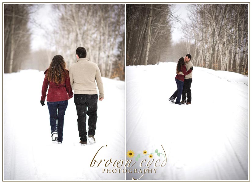 snow day engagement photography in the adirondacks