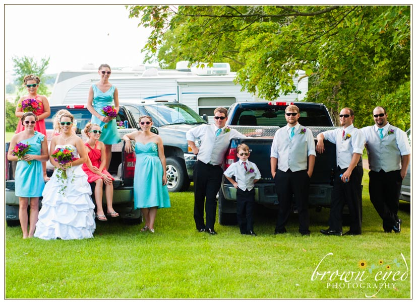 Wedding-party-on-a-truck