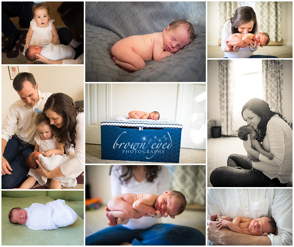 family with newborn baby at home in Burlington, VT