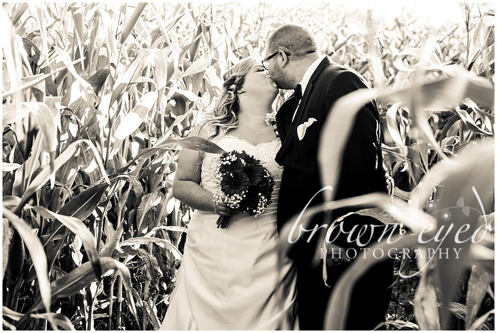 bride and groom kissing in cornfield adirondack wedding