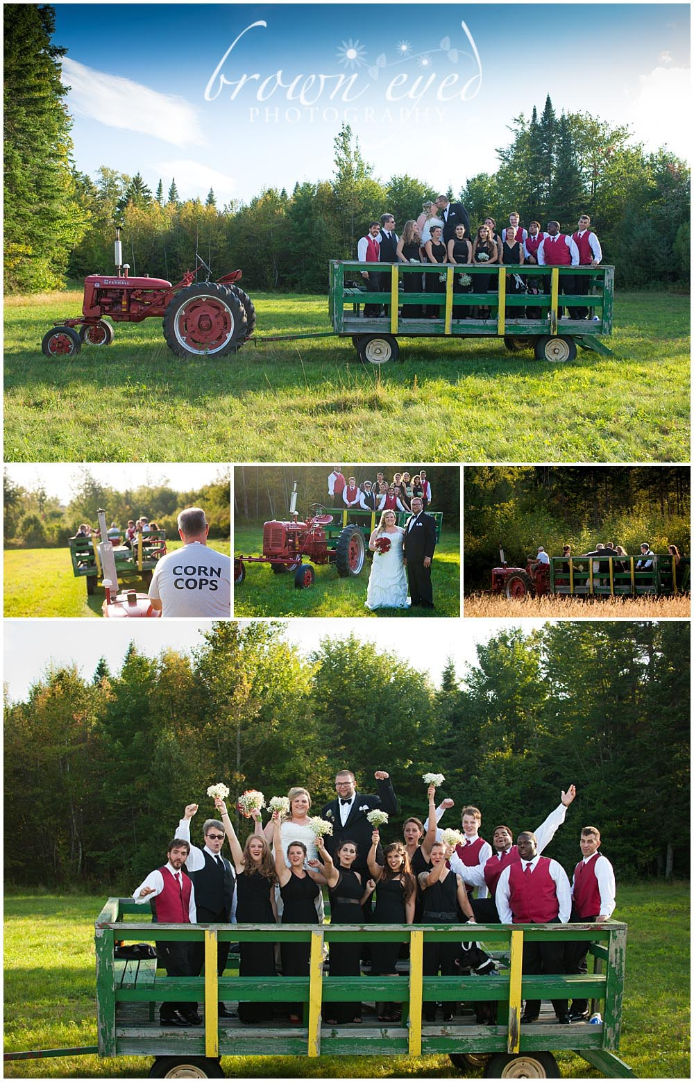 wedding party in hay wagon at farm wedding